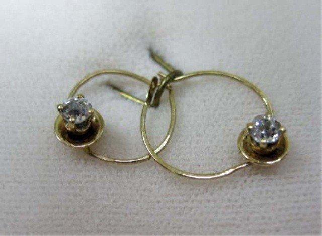 2: Pair of Gold Diamond Earrings
