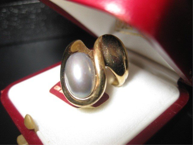 9: Gilt Sterling Grey Pearl Ring