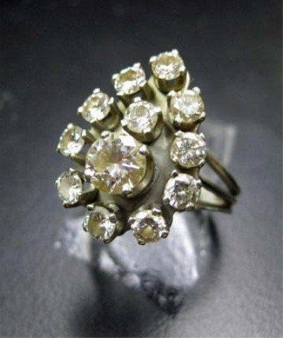15: 14K White Gold Diamond Cocktail Ring