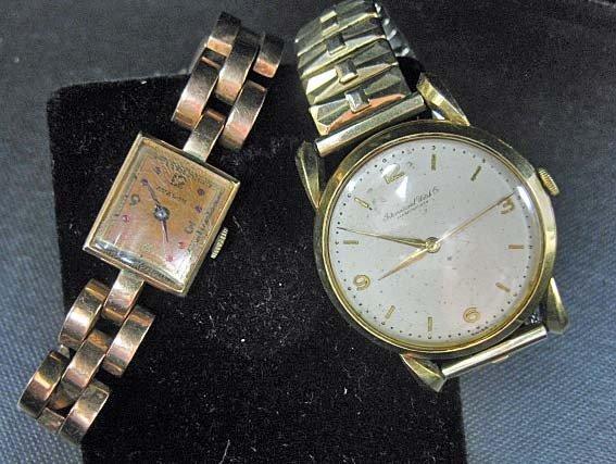 755: Men's 18K Gold Watch & Ladies 14K Gold Watch