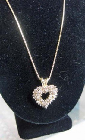 14K Gold Diamond Heart Pendant On Chain