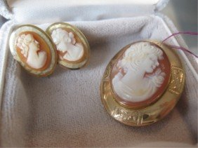 14K Gold Framed Cameo & Pair Costume Earrings