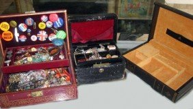 19: Assorted Costume Jewelry & 3 Jewelry Boxes