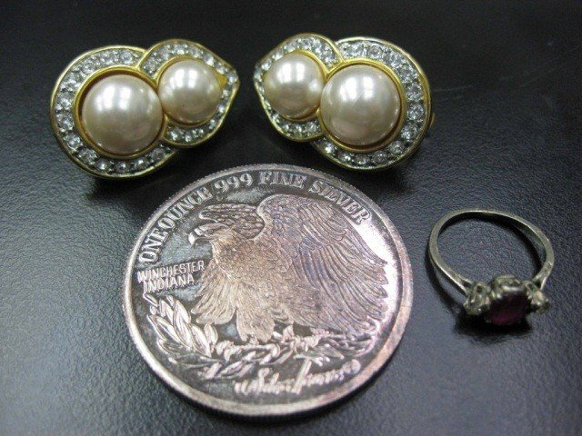 1: Silver Coin, Silver Ring & Pair Costume Earrings