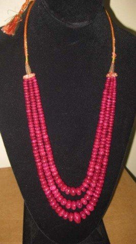 3: Triple Strand of Ruby Beads
