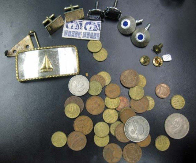 10: Assorted Foreign Coins, Cufflinks, etc.