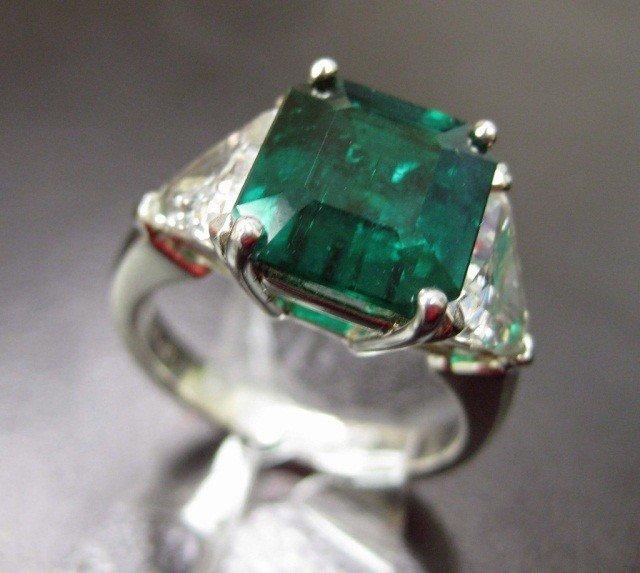 14: Platinum Emerald and Diamond Ring