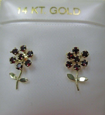 17: Pair of 14K Gold Flower Form Earrings