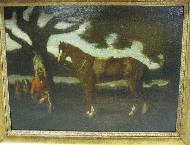 196: Oil on Board - Figure with Horse