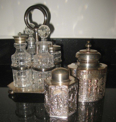 19: Cruet Set and 2 Silver Plated Boxes