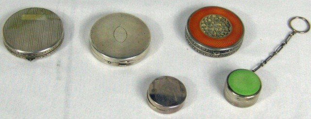 18: 2 Silver and Enamel & 3 Silver Plate Compacts
