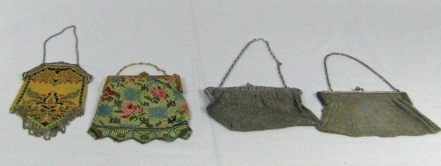 19: 1 Sterling, 1 Silver Plate and 2 Decorated Purses