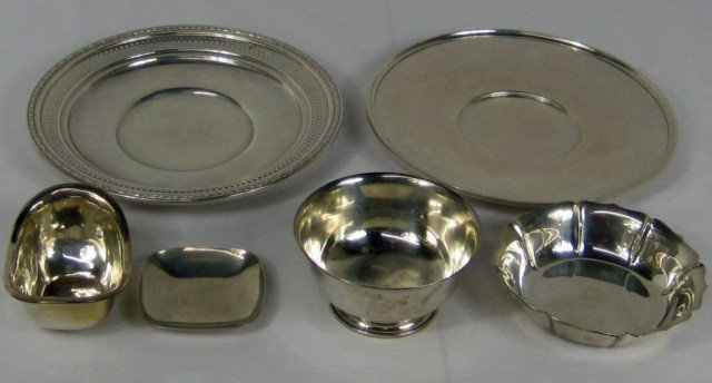 20: 6 Assorted Sterling Silver Plates & Dishes
