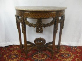 Louis XVI Style Carved Demi Lune Console