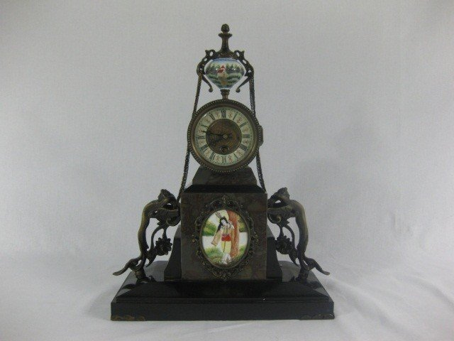 98: Victorian Brass Mounted Marble Clock