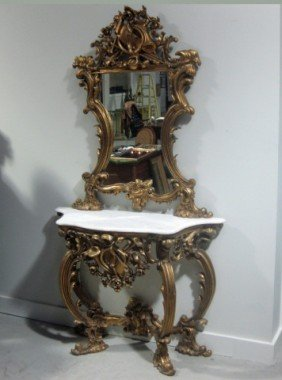 Louis XV Style Carved & Gilt 2 Piece Console