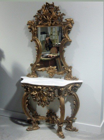 99: Louis XV Style Carved & Gilt 2 Piece Console