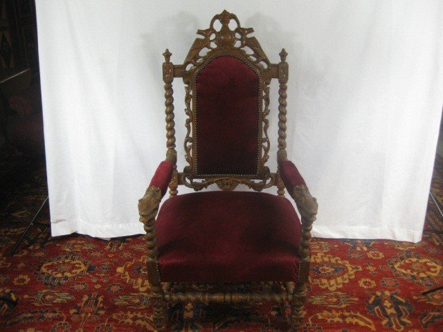110: Victorian Carved High Back Open Arm Chair