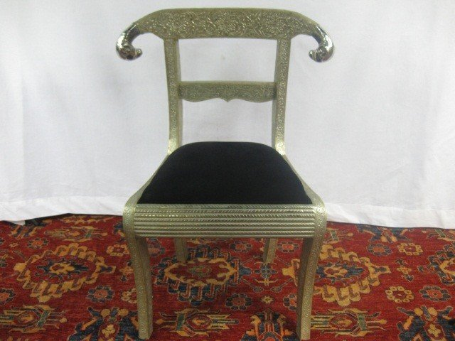111: Set of 4 Empire Metal Relief Clad Chairs