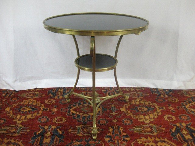 112: French 2 Tier Granite Top Gueridon