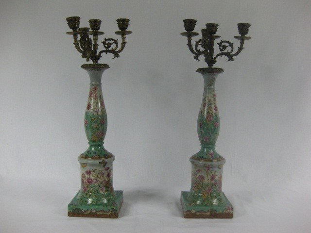 116: Pair of French Porcelain and Bronze Candelabra