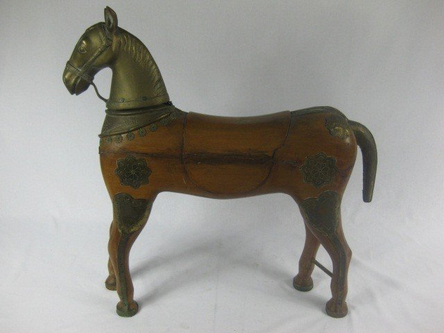 119: Brass & Wood Carved Figure of Horse