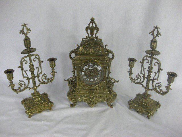 121: 3 Piece Victorian Bronze Clock Set