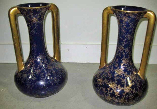 122: Pair of Cobalt and Gilt Decorated Porcelain Vases