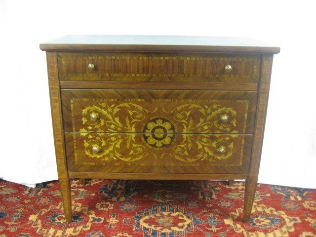 125: Dutch Marquetry Inlaid 3 Drawer Commode