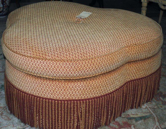 126: Trefoil Shaped Upholstered Ottoman