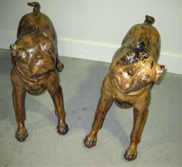 127: Pair of Terra Cotta Figures of Dogs