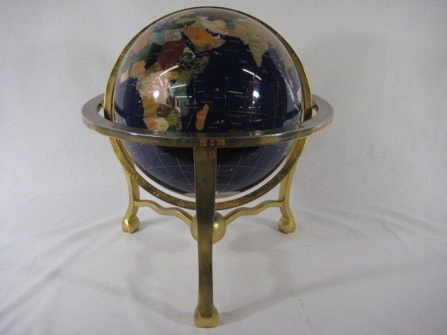 129: Brass and Various Stone Inlaid Globe