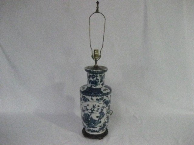 130: Chinese Blue and White Porcelain Lamp