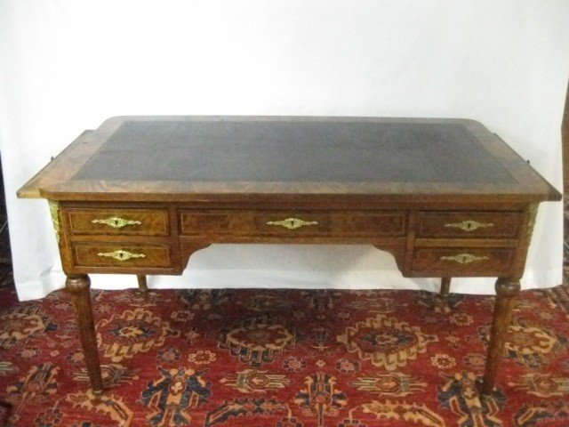 132: Louis XVI Style Inlaid Desk w/ Slides