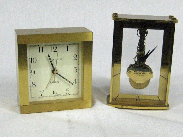 140: Tiffany Metal Desk Clock & Hamilton Desk Clock