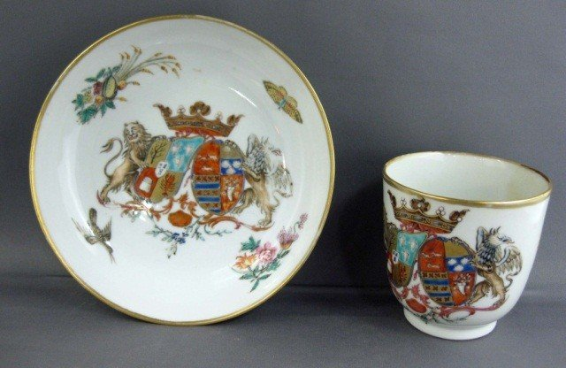144: Antique Chinese Armorial Cup and Saucer