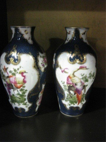 147: Pair of Continental Blue & White Porcelain Vases