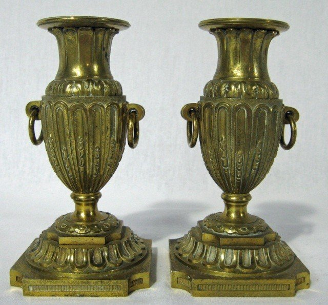 159: Pair of Bronze Candle Sticks