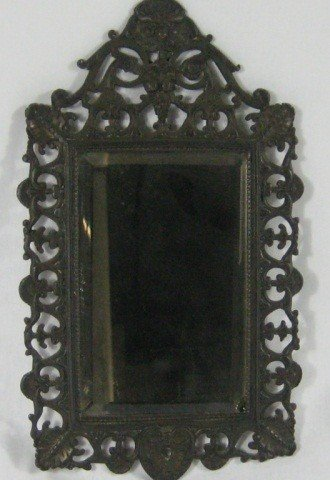 215: Victorian Bronze Small Mirror
