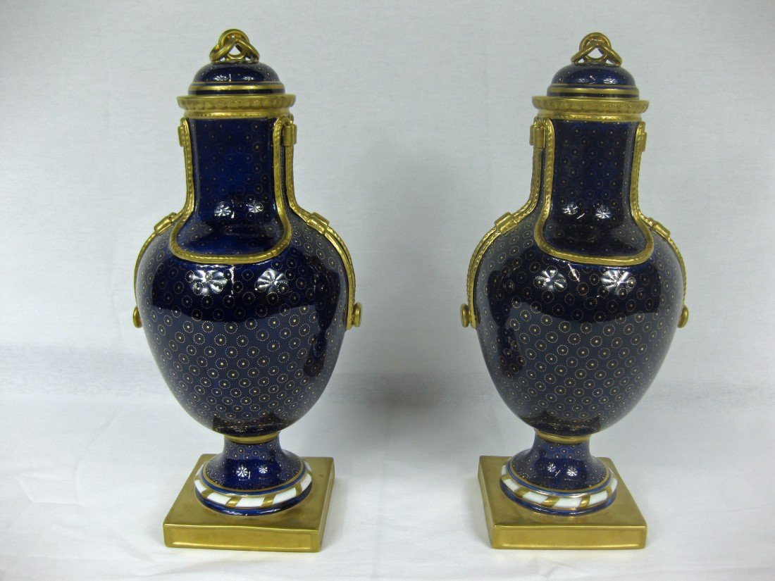 145A: Pair of Minton Cobalt and Gilt Urns with Covers