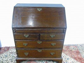 Antique George II Oak Slant Front Desk