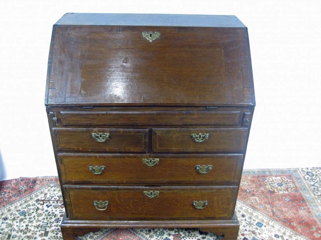 126A: Antique George II Oak Slant Front Desk