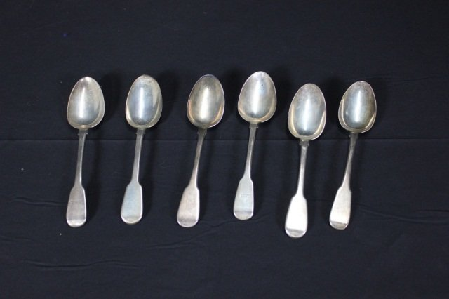 1: Set of 6 Silver Serving Spoons