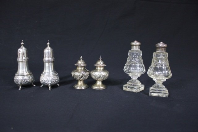 4: 3 Pairs of Sterling and Crystal Shakers
