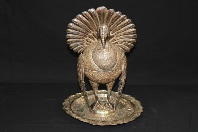 21: Continental Silver Turkey Figural Spice Container
