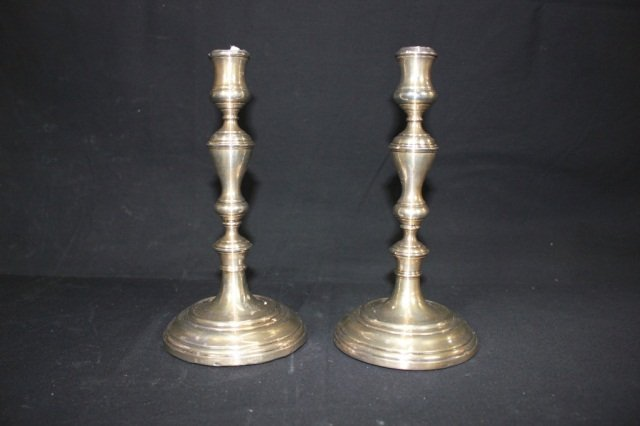24: Pair of English Silver Baluster-Form Candlesticks