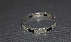 2: 14K White Gold Sapphire and Diamond Band