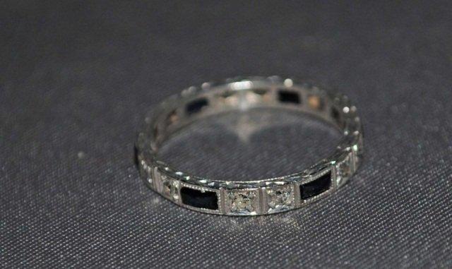 2: 14K White Gold Sapphire and Diamond Band