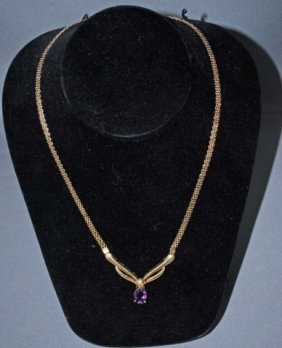 14K Gold Necklace With Amethyst Drop