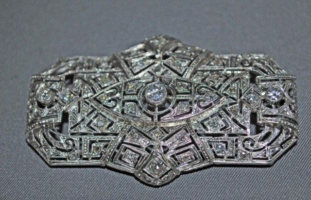 5: Art Deco Style Platinum Diamond Brooch